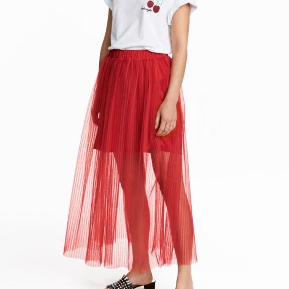 8d59e0eb6b H&M Skirts   Red Pleated Tulle Maxi Skirt   Poshmark